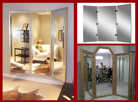 three panel dressing mirrors - wardrobe mirrors - dressing room tri fold mirrors